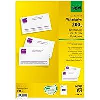 Sigel DP839 150 Cartes de visite prédécoupées, 8,5 x 5,5 cm, 200g/m², blanc