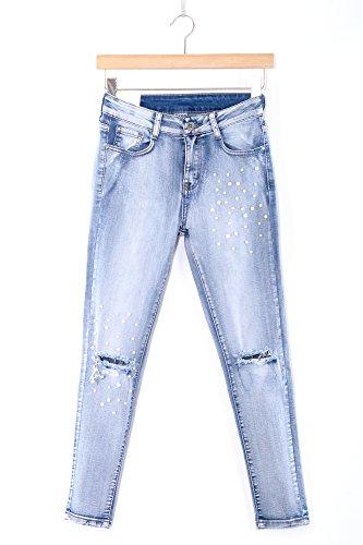 Abbino 5091 Jeanshose mit Perlen am Knie Damen Frauen - 1 Farbe - Jeans Jeanhose Hose Damen Frauen Übergang Frühling Sommer Elegant Lässig Klassisch Vintage Casual Modern - Blau Jeans - XS 34