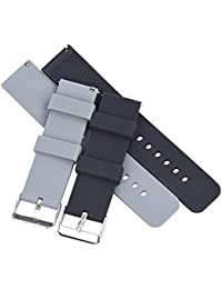 Randon Quick Release Silicone Watch Bands Soft Rubber Watch Strap for Smart Watch,Pack of 2 (Black/Smoke Gray, 22mm)