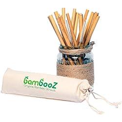 DECO EXPRESS Bambooz Pajitas bambú Reutilizables ecológicas biodegradables reciclables - 16 pajitas