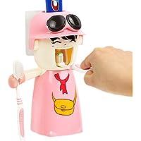 Dispensador de pasta de dientes automático con cepillo de dientes titular Set y vaso para cepillos de dientes con Super Sticky ventosa, niños manos libres exprimidor