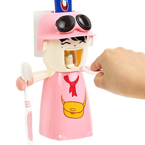 Automatische Zahnpastaspender, Zahnpasta Hands Free Squeezer Mit Becher,Zahnbürstenhalter,Wandhalterung,Kinder Karikatur-nettes gutes Geschenk (blue)