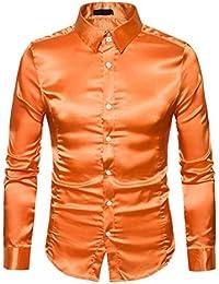 eca92d7ff17fd6 Herren Hemd Langarmshirt Vintage Glänzendes Mode Metallic Glänzend Glitzer  Schlank Fit Shirt für Nightclub…