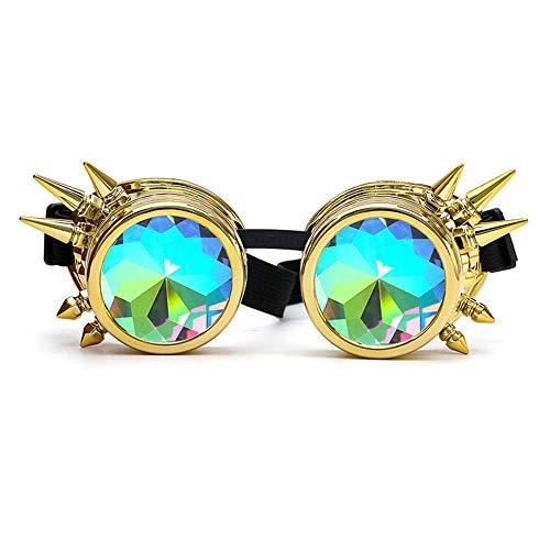 Aolvo Kaleidoskop Brillen Steampunk Brillen Rave Diffraction Gläser EDM Sonnenbrille Rainbow Prism Kristall Glas Objektiv Frauen Herren–Vintage Goth Festival Kostüm Cosplay Partyzubehör (Bunt) Gold