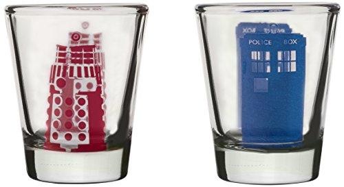 Dr Who Tardis und Dalek Gläser, Rot/Blau, Set von 2