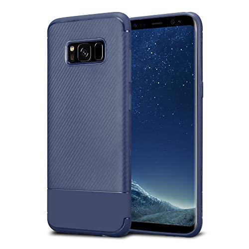 Kit Me Out DE® Galaxy S8 Schutzhülle TPU-Gel Carbonfaser Hülle Rückseite - stoßfest & robust - für Samsung Galaxy S8 - Blau