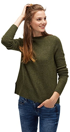 TOM TAILOR DENIM für Frauen knit Pullover in Melange-Optik oregano green melange XL (Neck Mock Knit Sweater)
