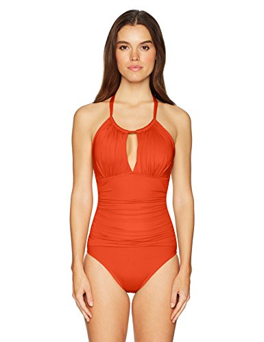 Kenneth Cole New York Women's Hall of Fame Solid Drawstring High Neck One Piece Swimsuit