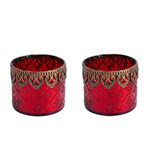 Home&Decorations 2er Set H&D Original Windlicht Teelichtglas Rot Antiker Windlichthalter Kerzenglas...