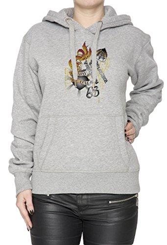 Flame Of Passion Donna Grigio Felpa Felpa Con Cappuccio Pullover Grey Women's Sweatshirt Pullover Hoodie