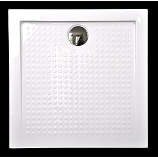 Art-of-Baan® - Extra flache Duschtasse, Duschwanne aus Acryl, Anti-rutsch ABS Hochglanz weiß, 80 x 80 x 3,5 cm inkl. Ablaufgarnitur