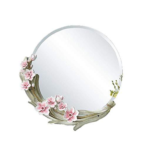 Schminkspiegel Wand Kosmetikspiegel Große Runde Kreative Wohnzimmer Schlafzimmer Dekorative Spiegel (Farbe: Rosa)