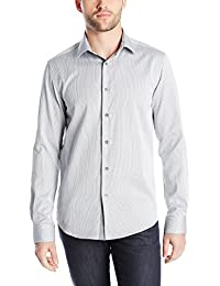 Kenneth Cole Men's Hairline Stripe Long-Sleeve Button-Front Shirt with Elbow Patches
