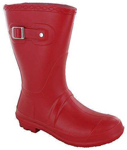 Short 3/4 Length Lightweight Wellingtons Womens Wellies Buckle Boots UK 3-9