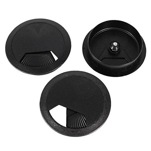 Schwarz Schreibtisch Tülle (PC Schreibtisch schwarz Kunststoff 60mm Durchmesser Tülle Kabel Loch Abdeckung 3PCS)
