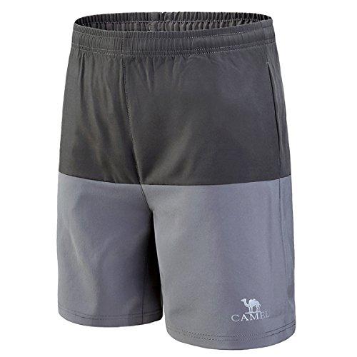 Camel Shorts pour les Hommes Running Séchage rapide Gym Workout Pantalon Équipé Respirant Athletic Shorts avec Poches pour Soccer Basketball Exercice Actif