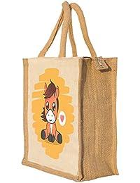 Nisol Cute Horse Classic Printed Lunch Bag | Tote | Hand Bag | Travel Bag | Gift Bag | Jute Bag