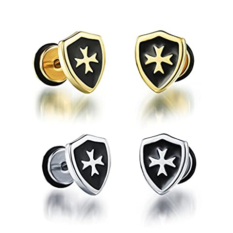 Jeracol 4pcs Two Tone Stainless Steel Polished Shield with Cross Plated Piercing Stud Earrings Set