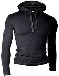 D&R Fashion para hombre de la camiseta del suéter ligero camisa de manga larga con capucha Slim Fit Casual