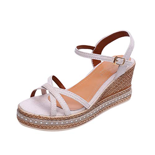 Damen Chic Espadrille Wedges Perforierte Open Toe Ankle Buckle Ausschnitt Plattform Sommer Criss Cross Dress Sandalen Criss Cross Wedge