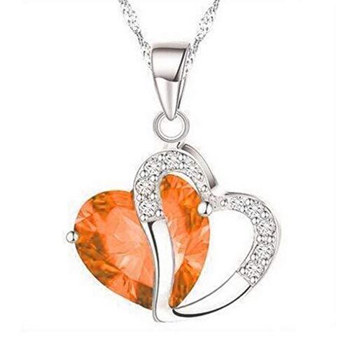 Dorical Damen 925 Sterling Silber 3A Zirkonia Halskette exquisite Geschenk/Frauen Halskette Beliebte Schmuck dchen Geschenk Promo(E)