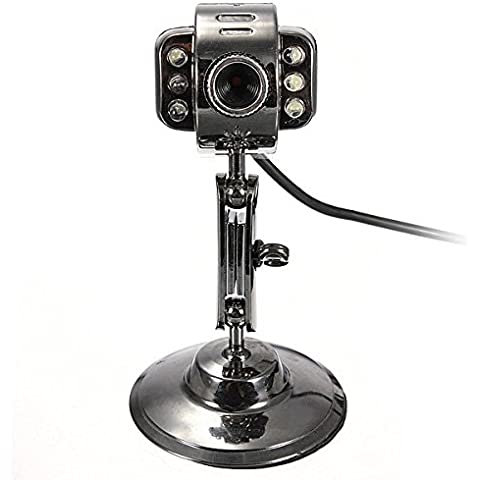 Cámara Webcam Web Cam Video 6 LED USB 2.0 de alta definición con el Mic visión nocturna