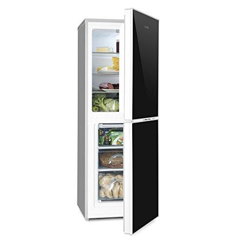 Klarstein Luminance Frost • Kühl- und Gefrierkombination • 98 Liter Kühlschrank • 52 Liter Gefrierfach • Doppeltür-Front aus Glas • 3 Glas-Ablagen • Gemüsefach • 3 Türablagen • 7-stufige Temperatureinstellung • freistehend • schwarz-silber