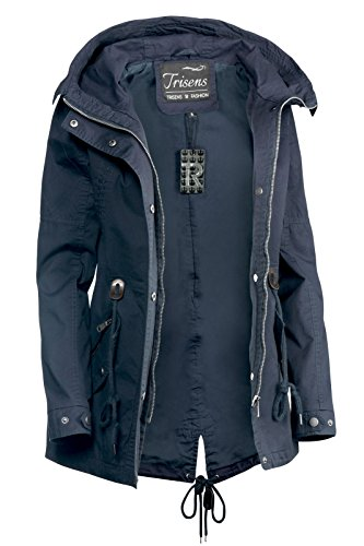 Trisens Damen Jacke ÜBERGANGSJACKE Trenchcoat Kapuze 100% Baumwolle LEICHT KURZ, Farbe:Dunkelblau, Größe:S - 4
