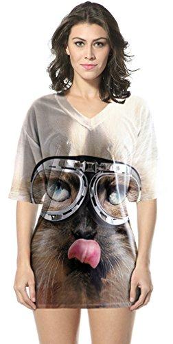 Thenice Damen T-Shirt Mehrfarbig mehrfarbig Medium Glasses