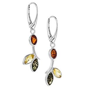 Copal Damen Bernstein-Ohrringe Echt Silber Mehrfarbig Bunt Blume Geschenkbox Kleine Geschenke für Frauen