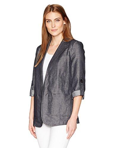 Ellen Tracy Women's Roll Sleeve Boyfriend Blazer, Indigo Denim/Face, 8 - Sleeve Boyfriend Blazer
