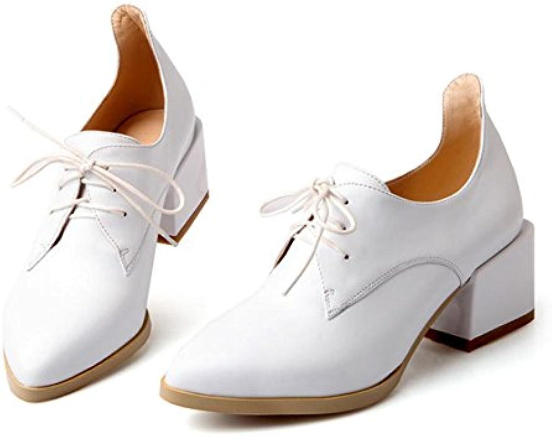 Primavera zapatos de las mujeres nuevo en la primera capa de piel con una punta de encaje zapatos, blanco, 7,5