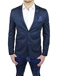 Giacca Sartoriale Uomo Blu Slim Fit casual elegante cerimonia estiva in  cotone f7b23af6881