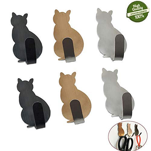 Morbuy Süße Katze Haken Selbstklebend Wandhaken, 6 Stück 304 Edelstahl Wasserdicht Handtuchhaken Haken Klebehaken Aufkleben Kleiderhaken für Küchen Badezimmer Toilettenschränke (Mischen) -