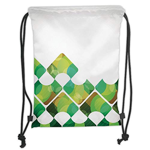 Trsdshorts Drawstring Backpacks Bags,Abstract,Triangular Shapes in Symmetrical Order with Abstract Fantasy Elements Print,Green Brown Aqua Soft Satin,5 Liter Capacity,Adjustable String Closur -