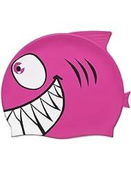 Grenhaven - Gorro de baño para Niños, 100% con alta calidad silicona para niños, gorro de natación, impermeable orejeras gorra de baño shark - color ROSA