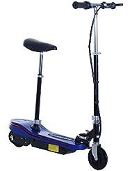 HOMCOM Scooter Eléctrico con Luz LED Monopatín Patinete Plegable con Manillar Asiento Ajustable Freno y Pie de Apoyo 120W Carga 70kg 81.5x37x96cm Acero (Azul)