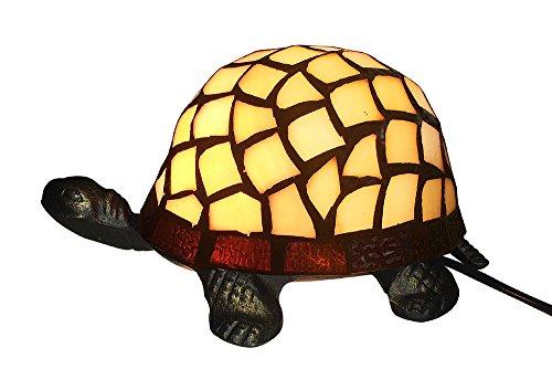 Tiffany-stil Lampe Schildkröte (Tiffany-Leuchte Schildkröte Tiffanylampe Tischlampe Tischleuchte Gelb)