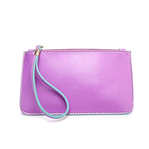 Mefly La Nuova Pelle Borsetta Telefono Mobile Wallet Blu Violet