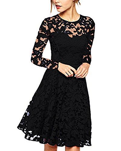 Lace Party Cocktail Bodycon Club Lang Abend Minikleider Langarm Schwarz EU 40/US 8 ()