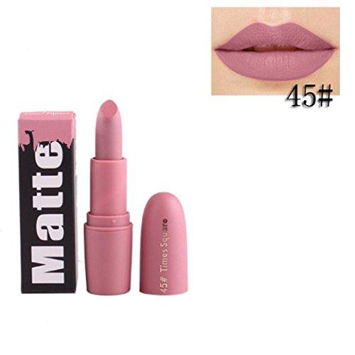 18Colori Rossetto, BeautyTop Matte Idratante liscio Liquido Pennarelli Kit Rossetti Lip Stick Trucco da Labbra (45#)
