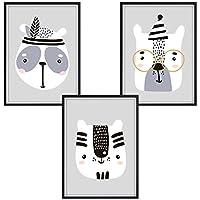 luvel® - Poster fürs Kinderzimmer und den Bilderrahmen, Kinderposter, Babyzimmer Bilder, Mädchen, Junge Deko, Dekoration Kinderzimmer, 3er-Set DINA4