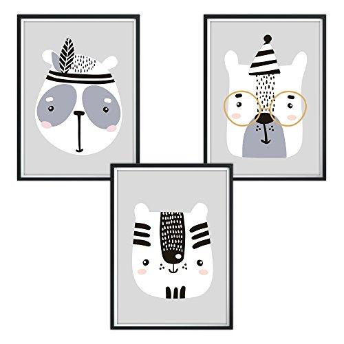 luvel - 3er-Set Kinderzimmer Poster DINA4 für den Bilderrahmen (P6)