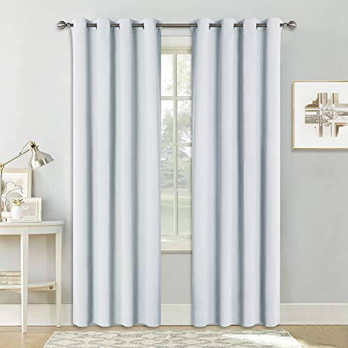 Pony dance tende bianche grigie per finestre salotto camera da letto (l 140 x a 260 cm, 2 pannelli) tandaggi lunghi spessi morbidi/decorazione moderne da interno casa