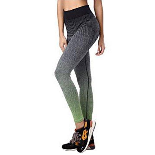 Vertvie Femme Leggings de Sport Pantalon Collant Stretch Extensible pour Yoga Fitness Jogging Vert