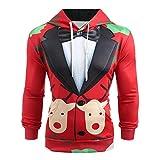 TIFIY Herren Weihnachten Anzug Pullover,3D Print Sweatshirt übsches Feiertagskostüm Lustiges Jumper Bluse Langarm Hoodie Freizeit Xmas Hemd (Rot,EU 44/CN M