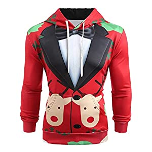 DOLDOA Christmas Hoodie for Mens Suit Pattern 3D Print Long Sleeve Slim Fit Sweatshirt Pullover,M-5XL