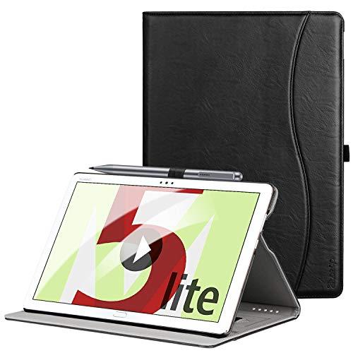 ZtotopCase Hülle für Huawei MediaPad M5 Lite 10, Premium Kunstleder Leichte Case mit Auto Schlaf/Wach Funktion & Pen Halter, für Huawei MediaPad M5 Lite 10.1 Zoll 2018 Modell,Schwarz