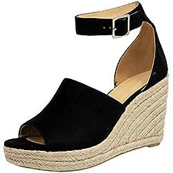 Cuñas para Mujer Sandalias Hebilla Zapatos de Tacón Boca de Pescado Grueso Alto Zapatillas de Suela Gruesa Mocasines Verano (37, Negro)