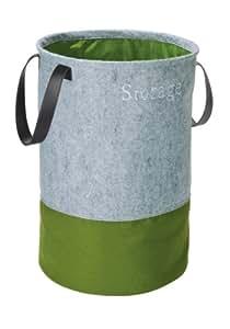 WENKO 3440203100 Pop-Up Wäschesammler Filz Grün - Wäschekorb, Fassungsvermögen 75 L, Filz, 40 x 60 x 40 cm, Grau
